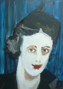 photo booth girl,  2014, oil on ply wood, 21x15cm
